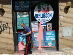 L'atto vandalico a Campi Bisenzio